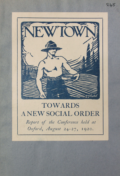 "1920 Conference Report image. Copyright is believed to be with the Religious Society of Friends but the name ""New Town"" Council does not appear elsewhere and any further information would be welcome."